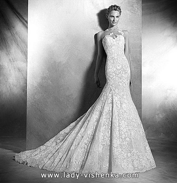 Blonder mermaid wedding dress med et tog i 2016