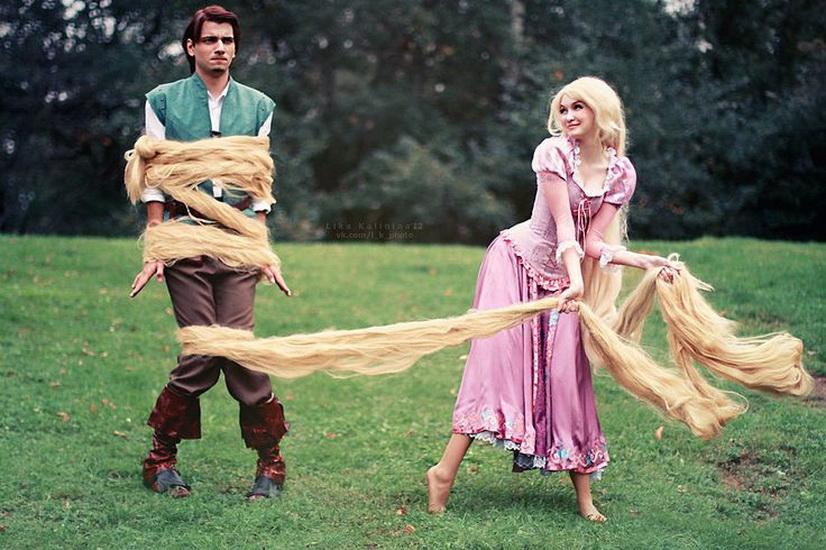 Rapunzel og Flynn - ideen om en Halloween kostyme