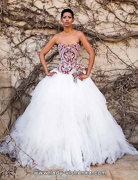 brudekjole med rød topp 2016 - Jordi Dalmau