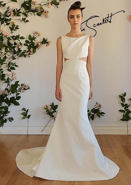 Sateng brudekjole med et tog i Austin Scarlet 2016