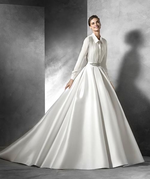 Bryllup cocktail kjole lange ermer med tog - Pronovias 2016