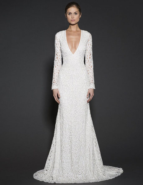 Wedding kjoler med blonder ermer - Naeem Khan