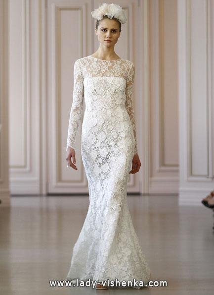 Wedding kjoler med blonder ermene Oscar De La Renta