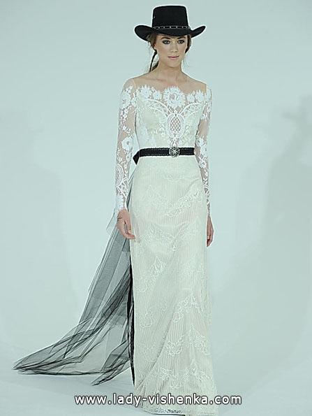 Wedding kjoler med blonder ermene Claire Pettibone