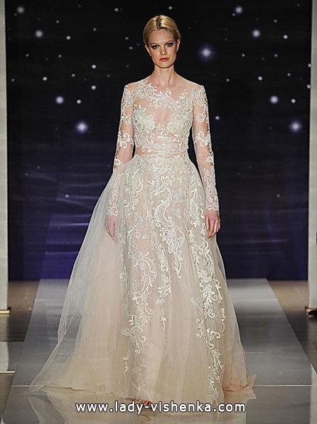 Wedding kjoler med blonder ermene bilder Reem Acra