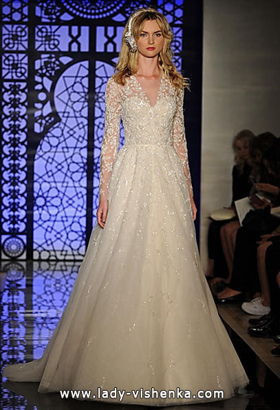 Wedding kjoler med blonder ermene, Reem Acra