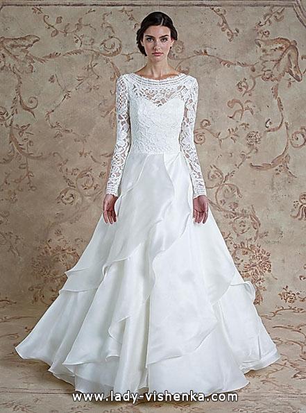 Wedding kjoler med blonder ermene Sareh Skrek