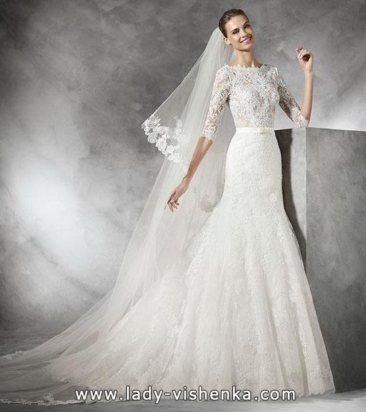 brudekjole med blonder ermer - Pronovias